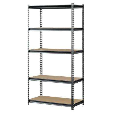 72 in. H x 36 in. W x 18 in. D 5 Shelf Z-Beam Boltless Steel Shelving Unit in SilverVein