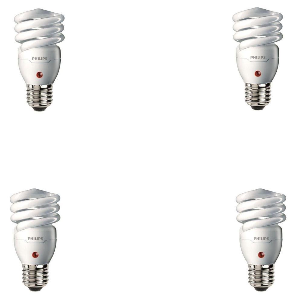 60-Watt Equivalent CFL Light Bulb Soft White Spiral Dusk till Dawn (4-Pack)