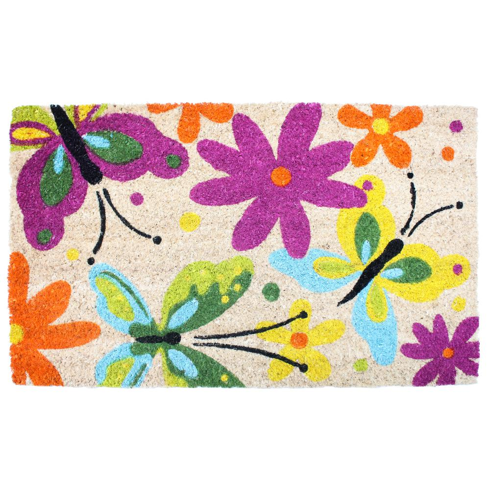 18 in. x 30 in. Flowers and Butterflies Vinyl Back Coco