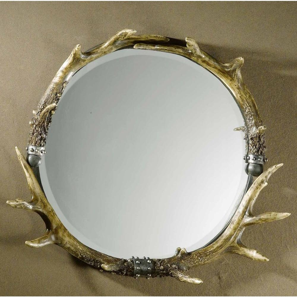 Global Direct 26 in. x 24 in. Stag Horn Round Framed Mirror