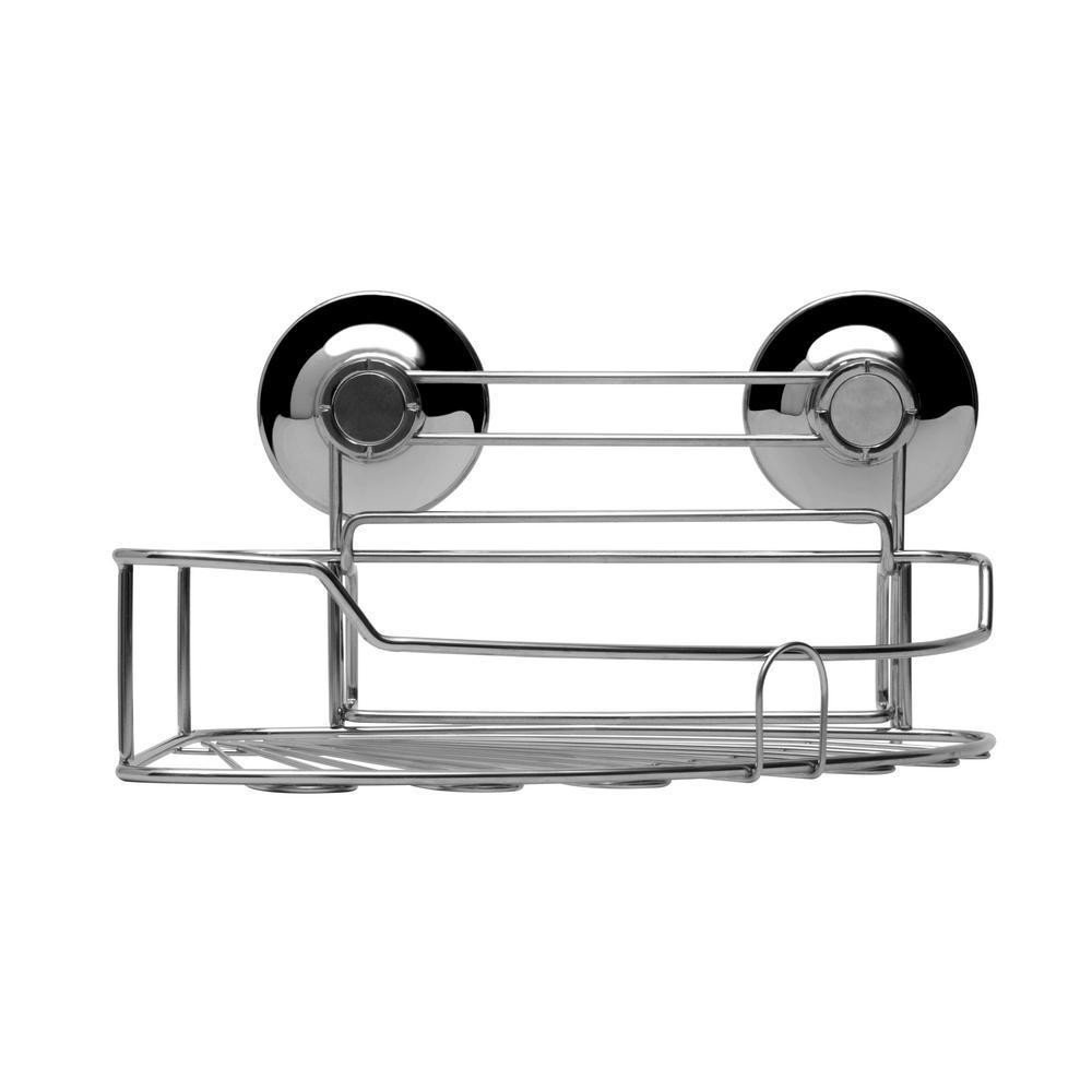Chrome 5.7 in. x 9.6 in. Corner Shower Caddy