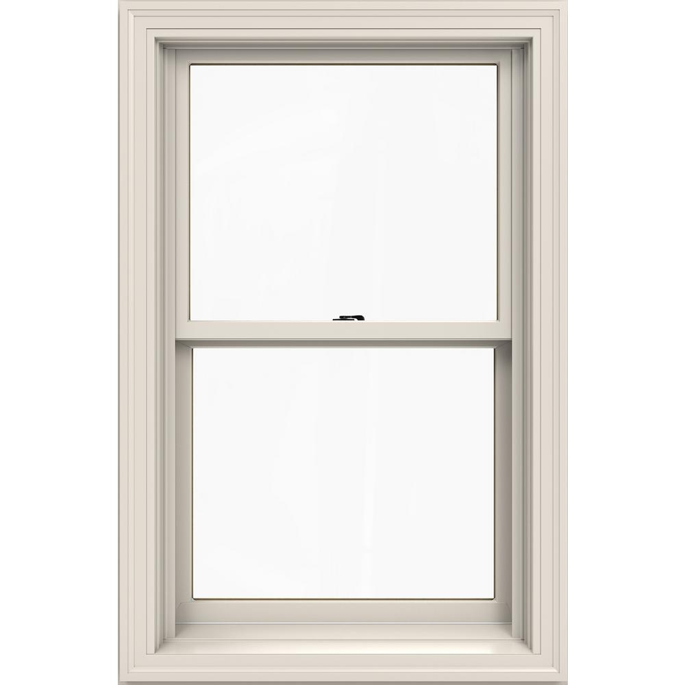 Jeld Wen 25 375 In X 40 5 W 2500 Series White Painted Clad Wood Double Hung Window Natural Interior And Low E Gl