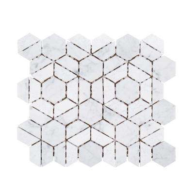 Bronson White 9.5 in. x 11 in. x 8 mm Geometric Textured Marble Wall and Floor Mosaic Tile