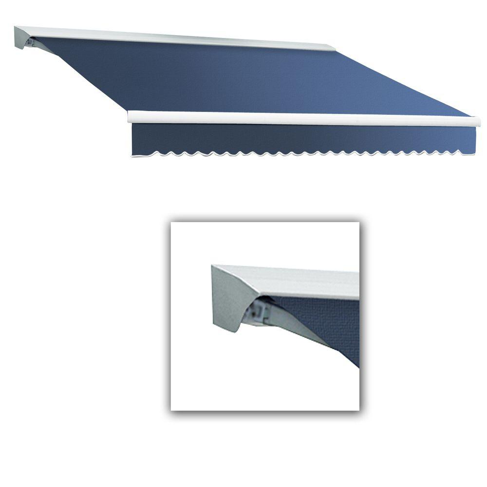 AWNTECH 16 ft. LX-Destin with Hood Left Motor with Remote Retractable Acrylic Awning (120 in. Projection) in Dusty Blue