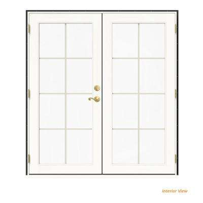 72 in. x 80 in. W-2500 Bronze Clad Wood Right-Hand 8 Lite French Patio Door w/White Paint Interior