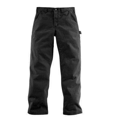 Men's 36x30 Black Cotton Straight Leg Non-Denim Bottoms
