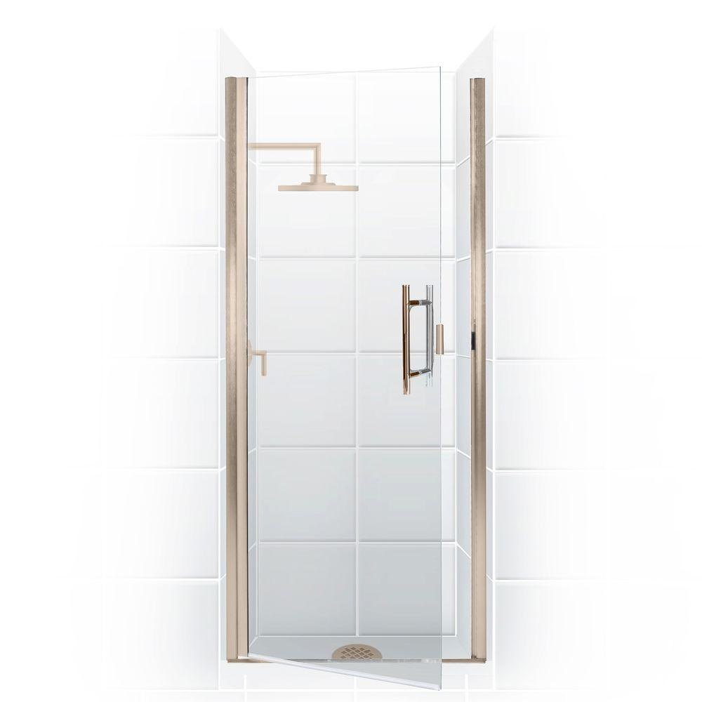Coastal Shower Doors Paragon Series 27 in. x 82 in. Semi-Framed Continuous Hinge Shower Door in Brushed Nickel with Clear Glass