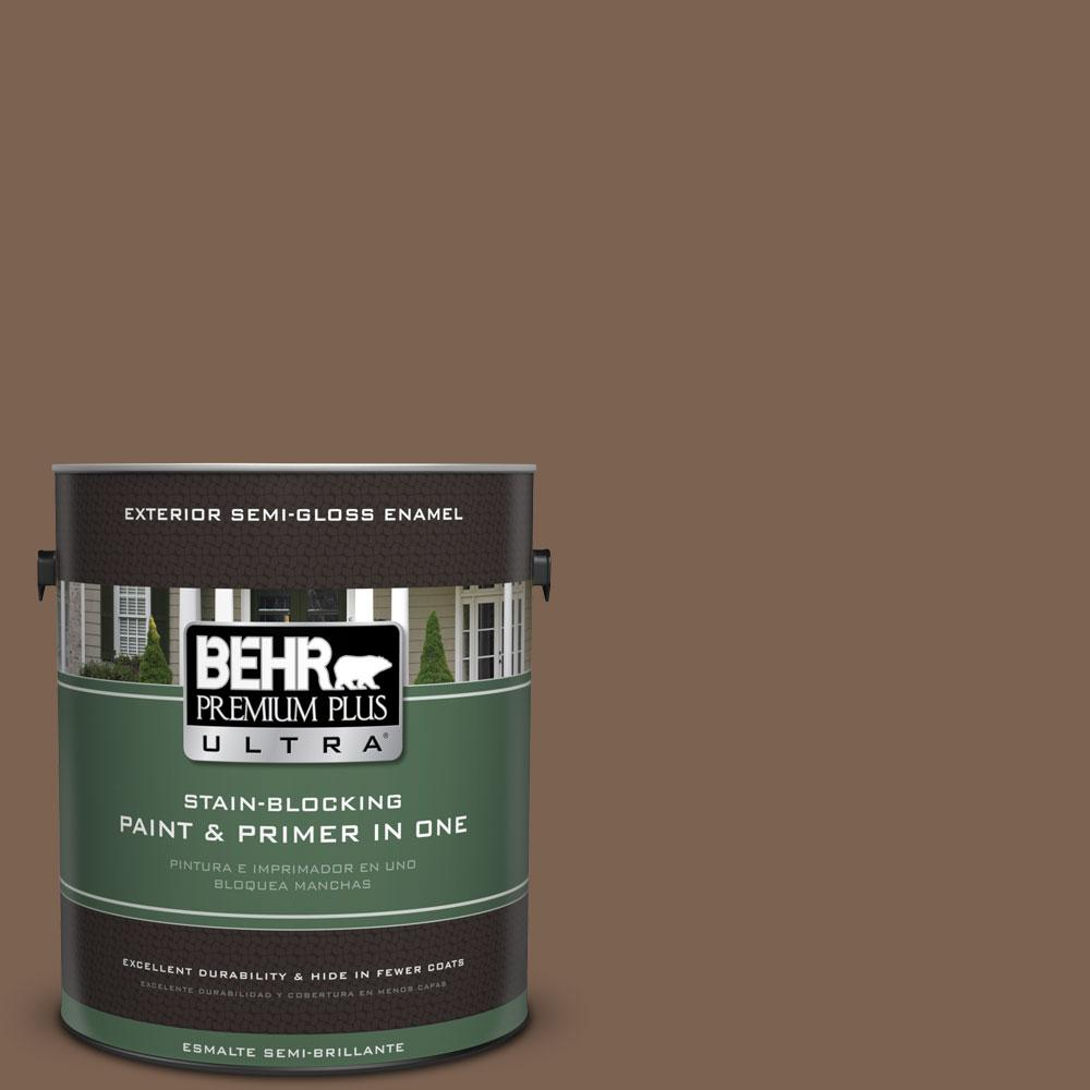 BEHR Premium Plus Ultra 1-gal. #N260-7 Folk Guitar Semi-Gloss Enamel Exterior Paint