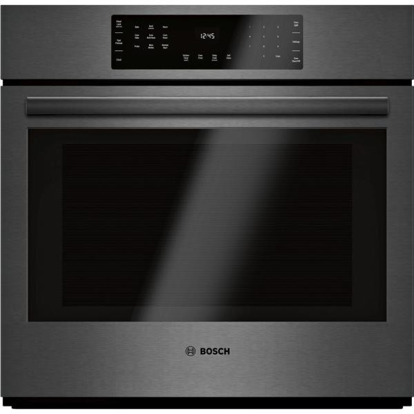 800 Series 30 in. Single Electric Wall Oven with European Convection Self-Cleaning in Black Stainless Steel