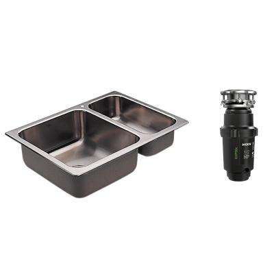 2000 Series Drop-in Stainless Steel 25.5 in. 1-Hole Double Basin Kitchen Sink with GX Pro Series 1/2 HP Garbage Disposal