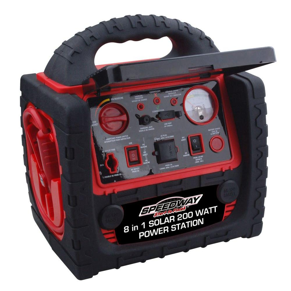 Speedway 200 Watt 8 In 1 Solar Panel Emergency Powerstation With Inflator Jumpstarter And Led