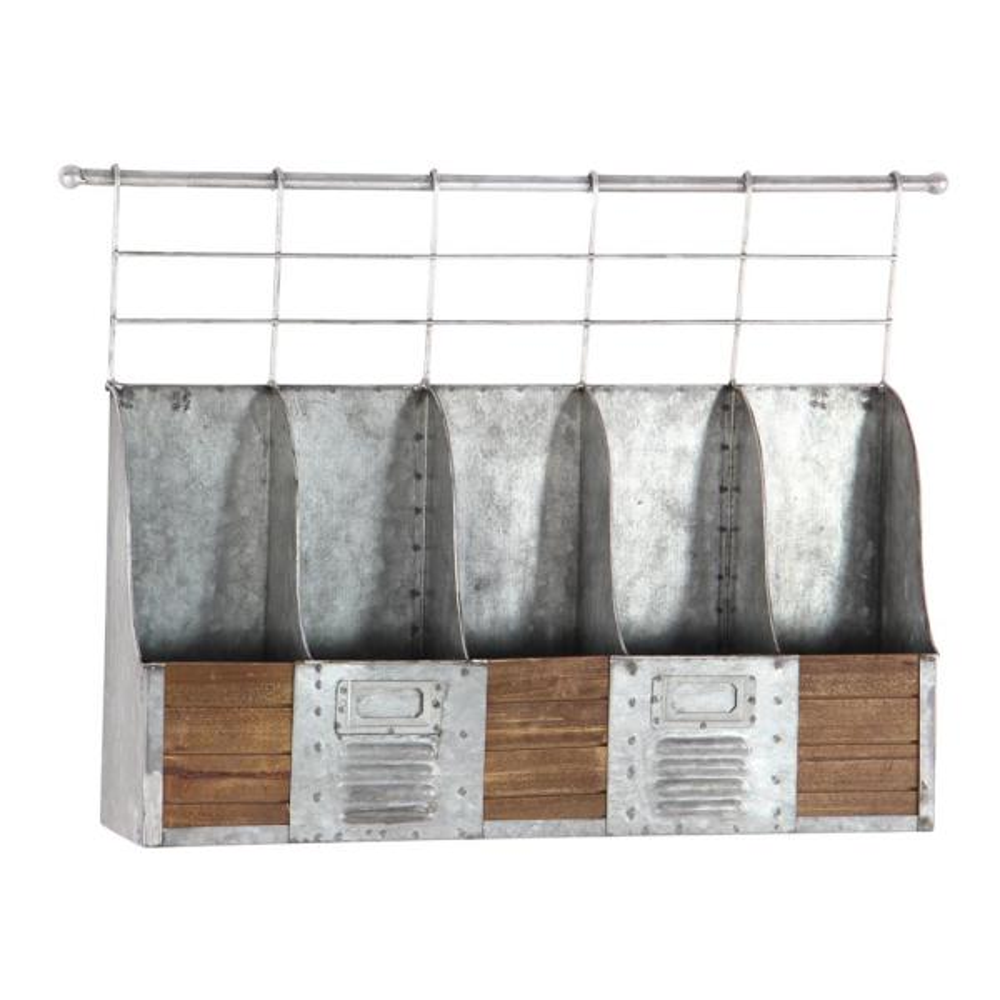 Litton Lane Metallic Gray Wall Mount 5-Bottle Wine Rack 98142