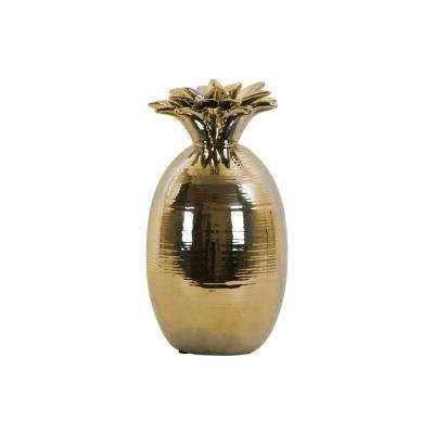 10.75 in. H Pineapple Decorative Figurine in Gold Polished Chrome Finish