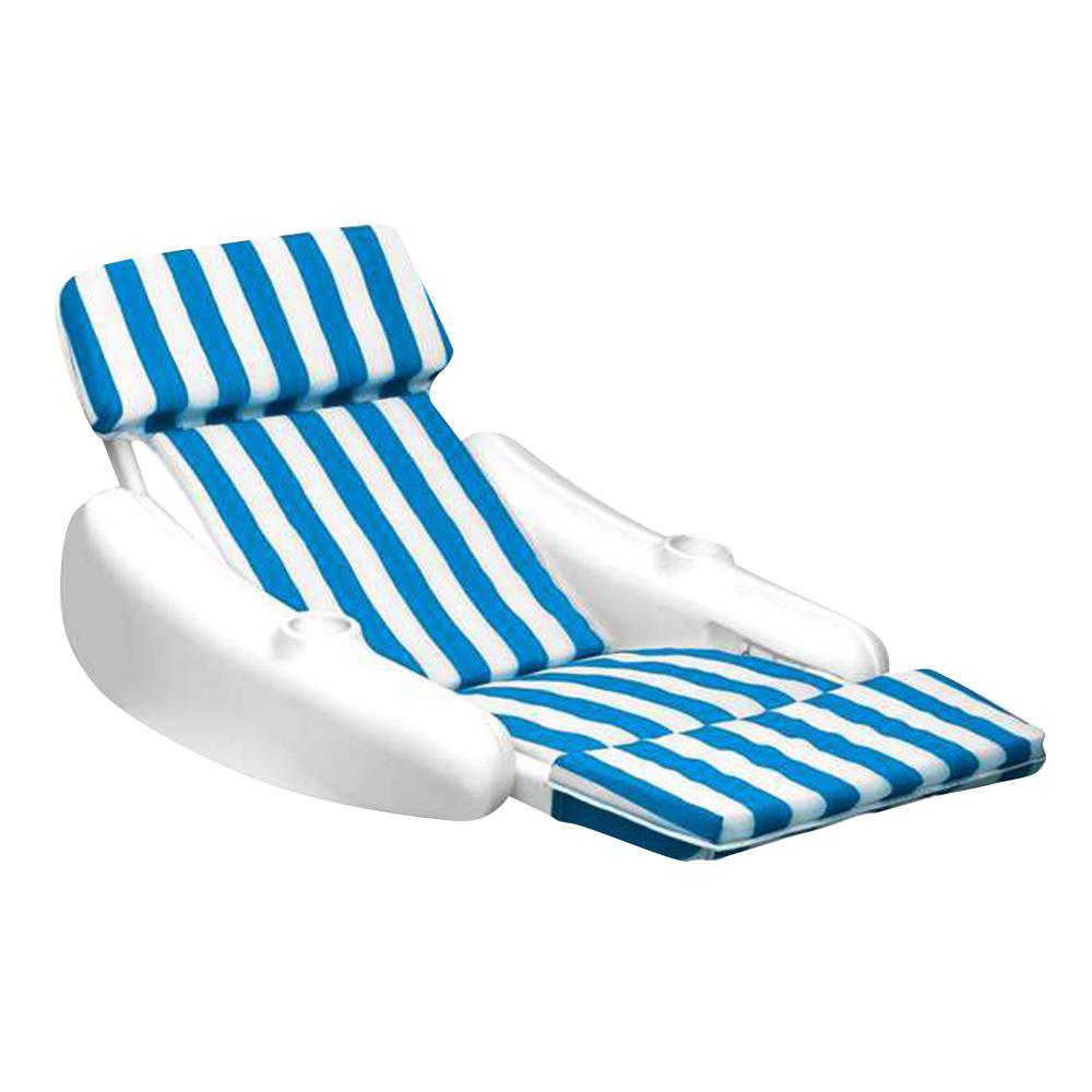 Swimline SunChaser Padded Swimming Pool Floating Lounge Chair, Blue/White -  NT140