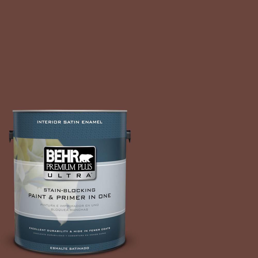BEHR Premium Plus Ultra 1-gal. #190F-7 Mayan Red Satin Enamel Interior Paint