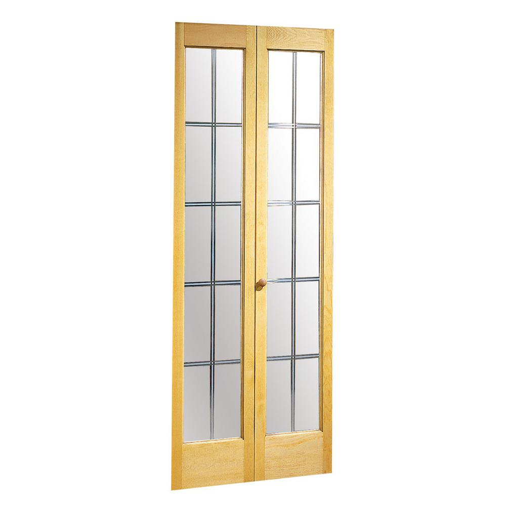 Optique Clear Glass with Frosted Grille Pattern Solid Core Unfinished Pine Bi-fold Door  sc 1 st  The Home Depot & Pinecroft 30 in. x 80 in. Optique Clear Glass with Frosted Grille ...