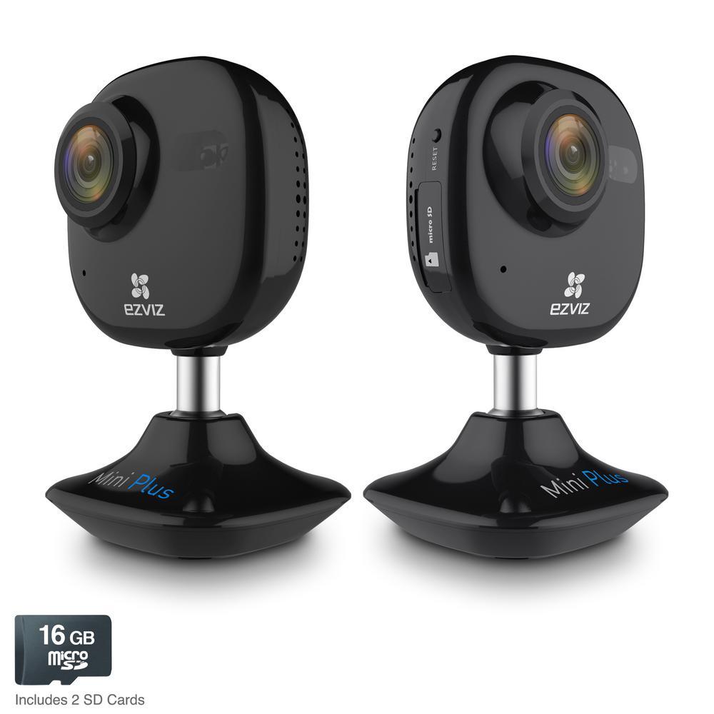 Mini Plus HD 1080p Wi-Fi Video Security Camera 16GB MicroSD Works with Alexa Using IFTTT, Black (2-Pack)