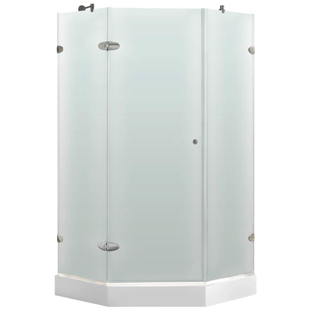 Vigo 36 in. x 78 in. Frameless Neo-Angle Shower Enclosure in Brushed Nickel with Frosted Glass with Base