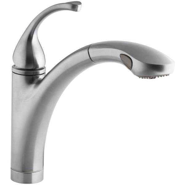 Kohler Forte Single Handle Pull Out Sprayer Kitchen Faucet In Brushed Chrome K 10433 G The Home Depot