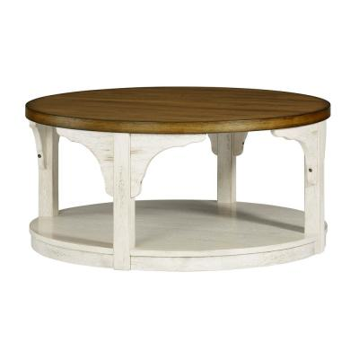 Wellington Place 40 in. Oak and Antique White Round Cocktail Table