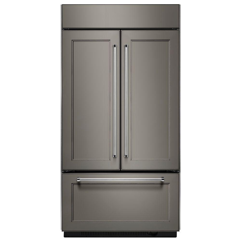 42 in. W 24.2 cu. ft. Built-In French Door Refrigerator in Panel Ready, Platinum Interior