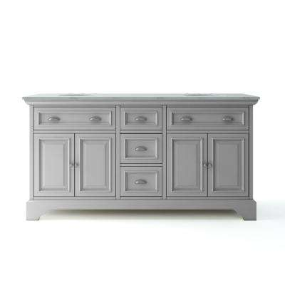 Sadie 67 in. W x 21.5 in. D Vanity in Dove Grey with Marble Vanity Top in Natural White with White Basins