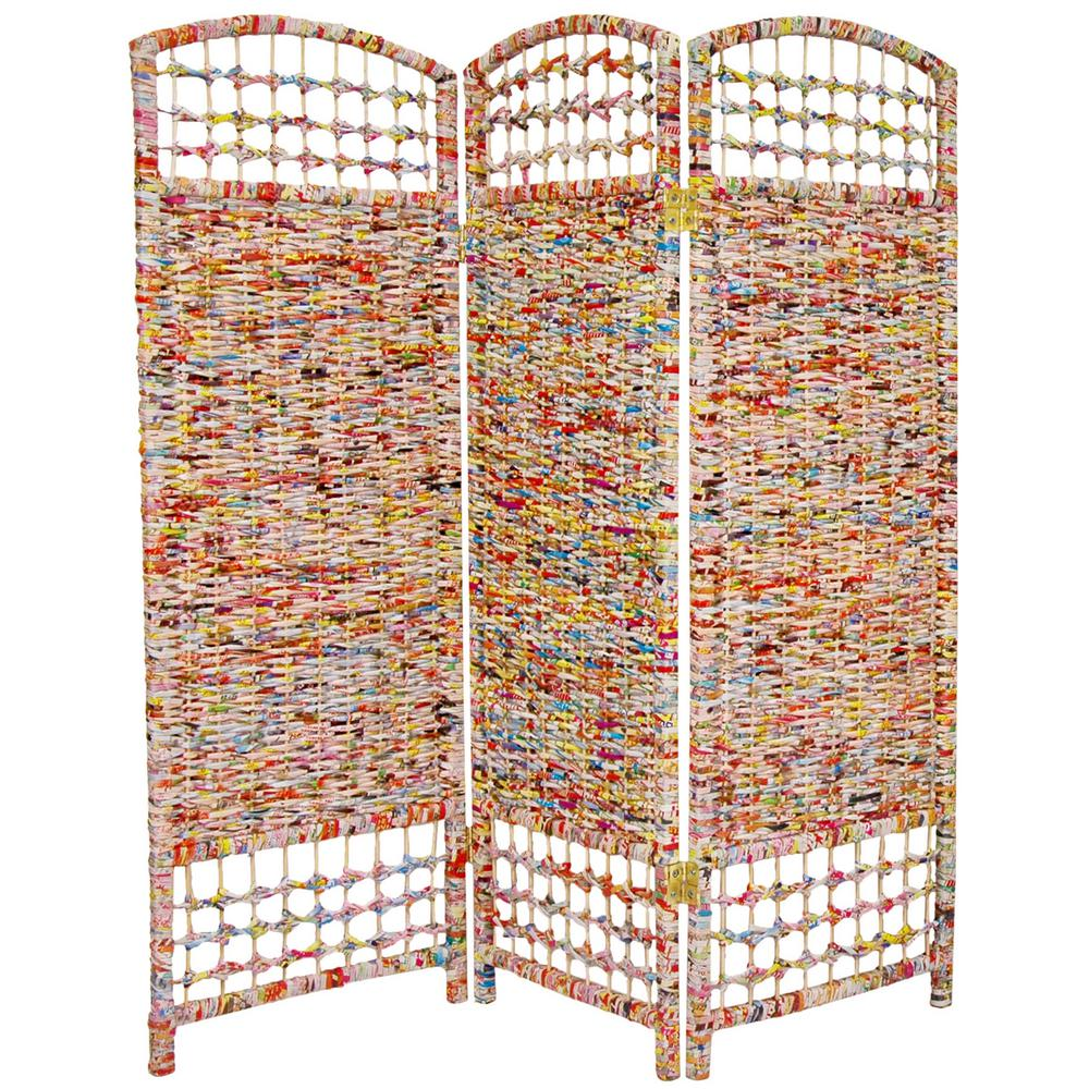 4 ft. Multi Color 3-Panel Recycled Magazine Room Divider