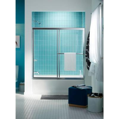 Prevail 59-3/8 in. x 56-3/8 in. Framed Sliding Tub/Shower Door in Silver with Handle