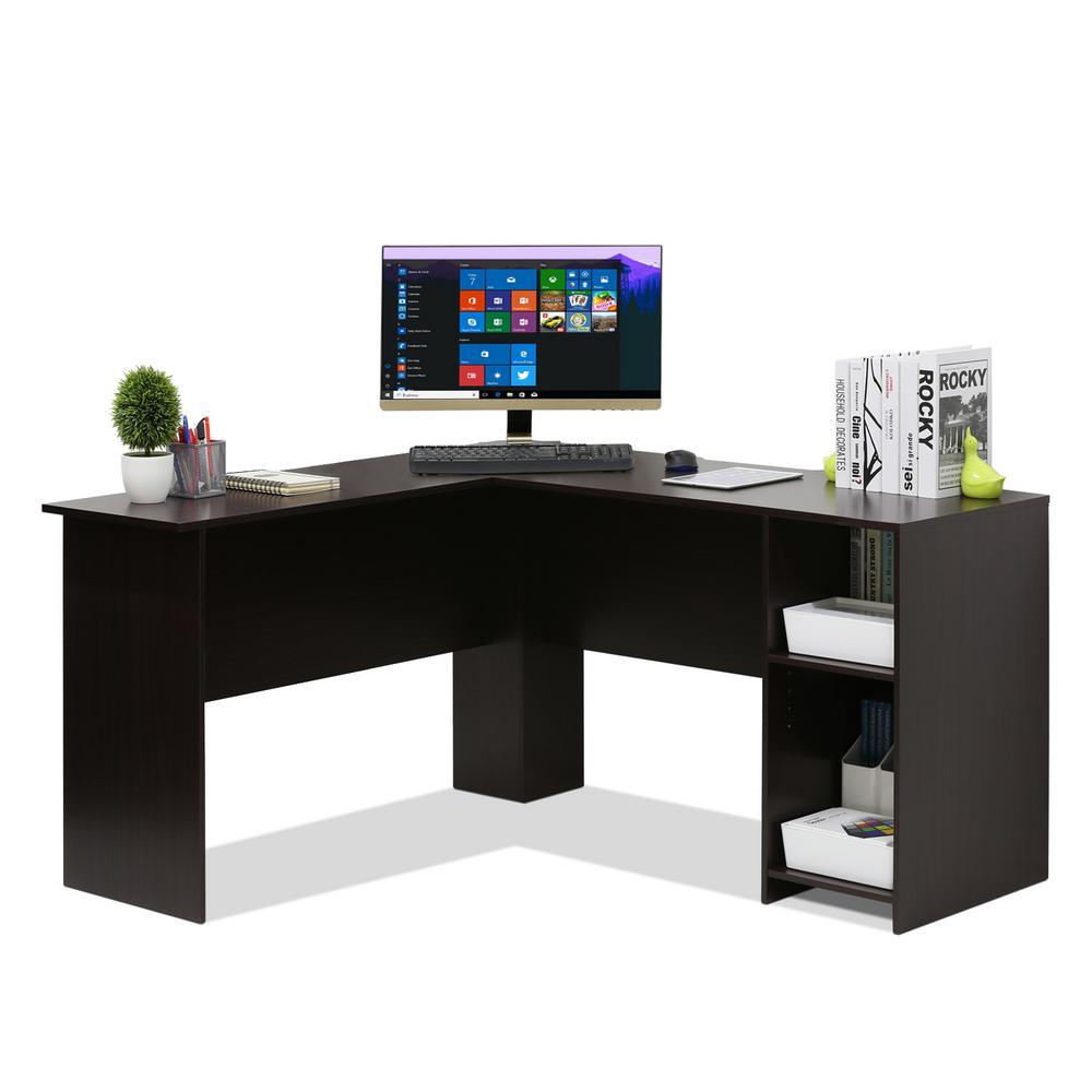 Indo Espresso L-Shaped Desk with Bookshelves
