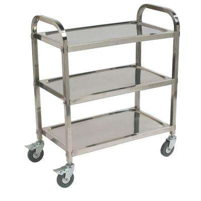 33 in. H x 17 in. W x 33.38 in. D Stainless Steel Knockdown 3-Shelf Utility Cart