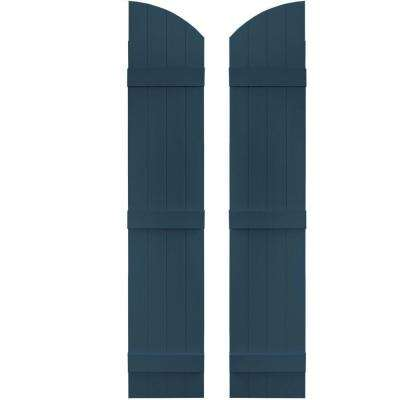 14 in. x 69 in. Board-N-Batten Shutters Pair, 4 Boards Joined with Arch Top #036 Classic Blue