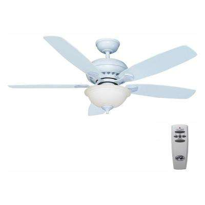 Southwind 52 in. LED Indoor Matte White Ceiling Fan with Light Kit and Remote Control