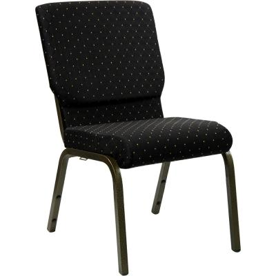 Black Dot Patterned Fabric/Gold Vein Frame Stack Chair