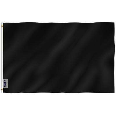 Fly Breeze 3 ft. x 5 ft. Polyester Solid Black Flag 2-Sided Flags Banner with Brass Grommets and Canvas Header