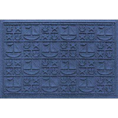 Navy 24 in. x 36 in. Nautical Polypropylene Door Mat
