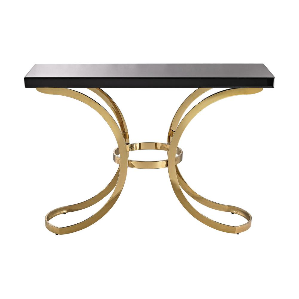 Towers Black Gold Glass Top Console Table Gold Plate Black Beacon
