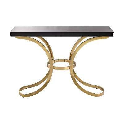 Beacon Towers Black and Gold Glass Top Console Table