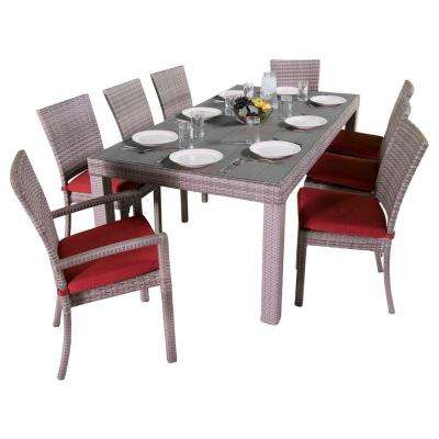 Cannes 9-Piece Patio Woven Dining Set with Cantina Red Cushions
