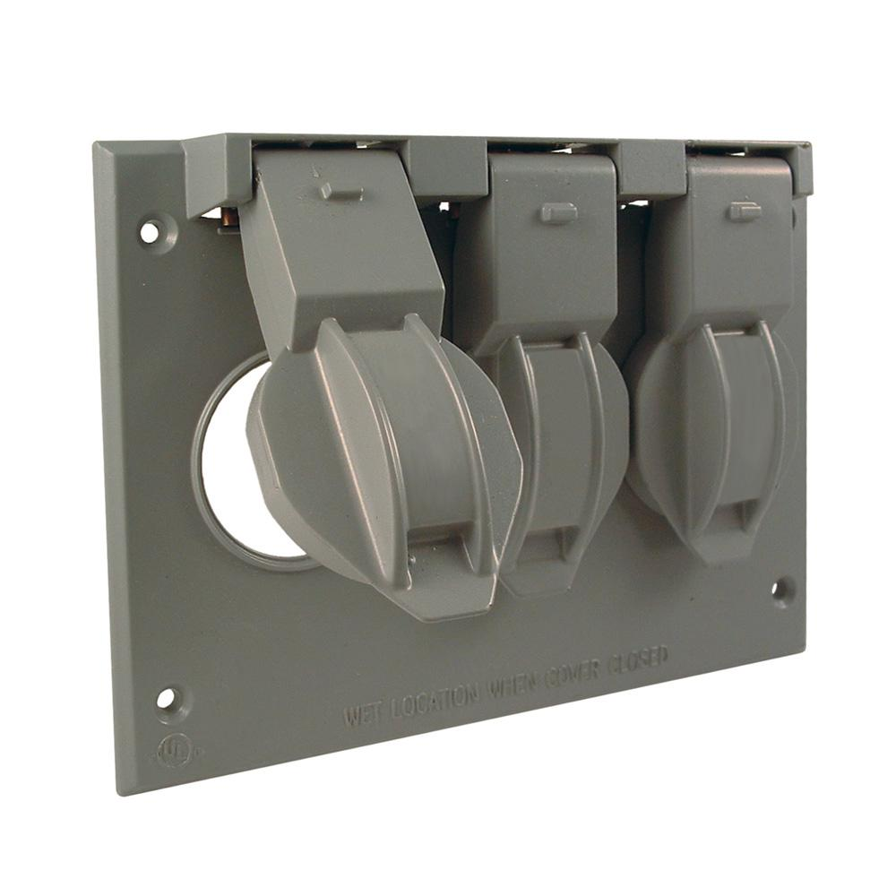 Bell 3 Gang Weatherproof Flip Lid Device Cover 5093 0 The Home Depot Gt 15 Or 20 Amp 2008 Ul Gfci Duplex Receptacle