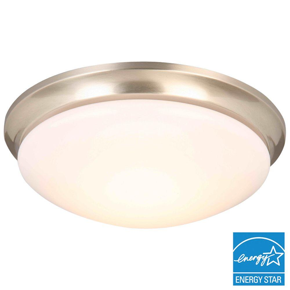 Hampton Bay Light Flashing: Home Decorators Collection 13 In. Brushed Nickel LED