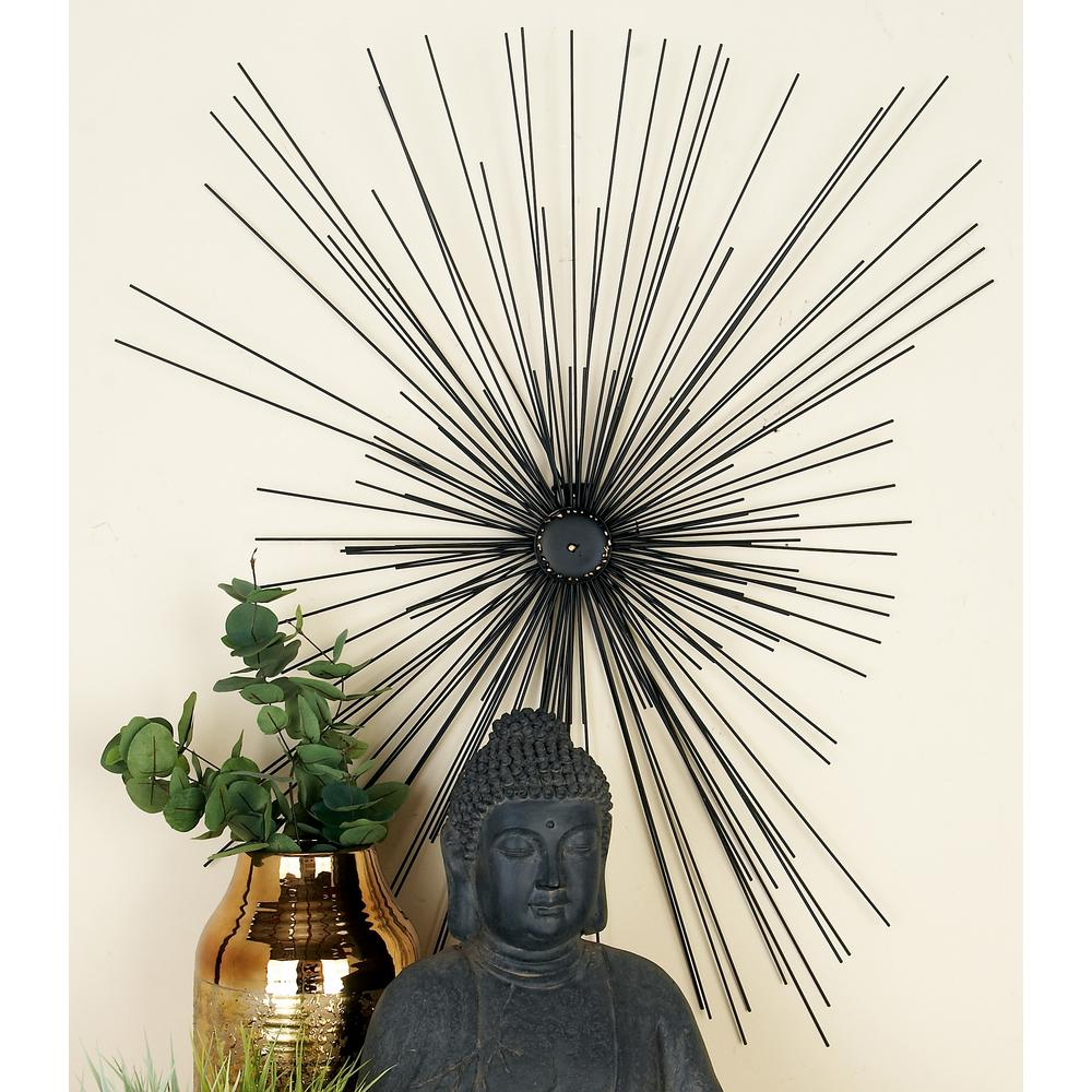 Modern Black Iron Radial and Round Centerpiece Wall Decor