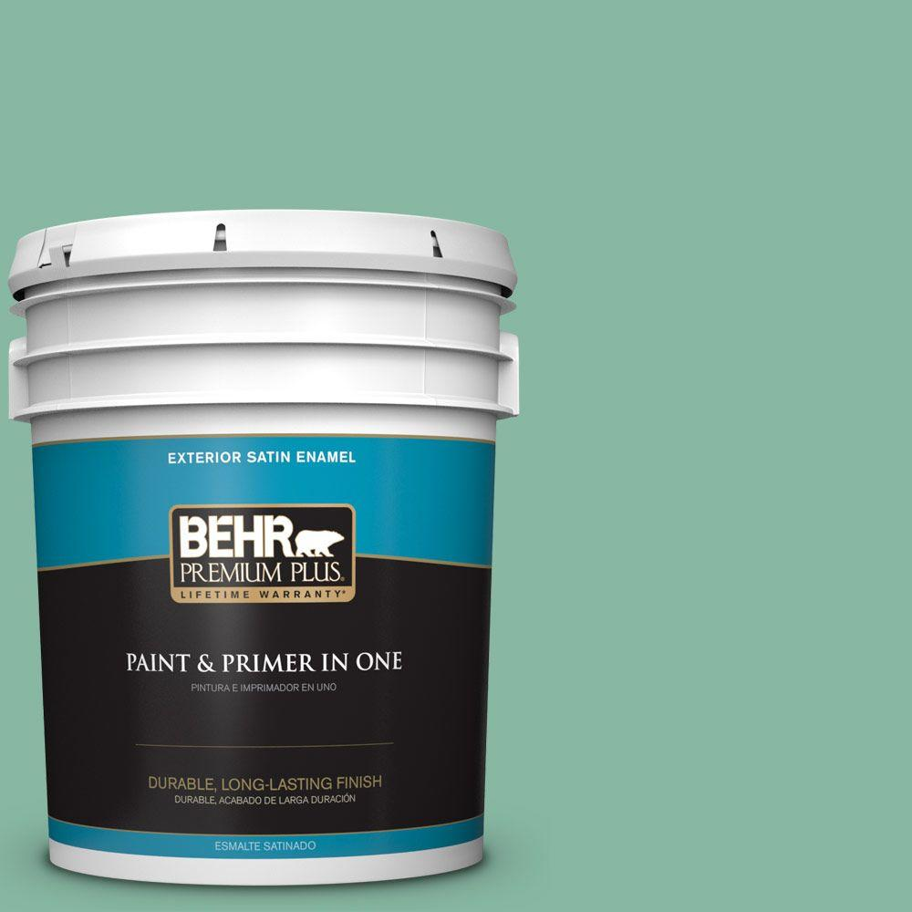 BEHR Premium Plus 5-gal. #480D-4 Indian Ocean Satin Enamel Exterior Paint