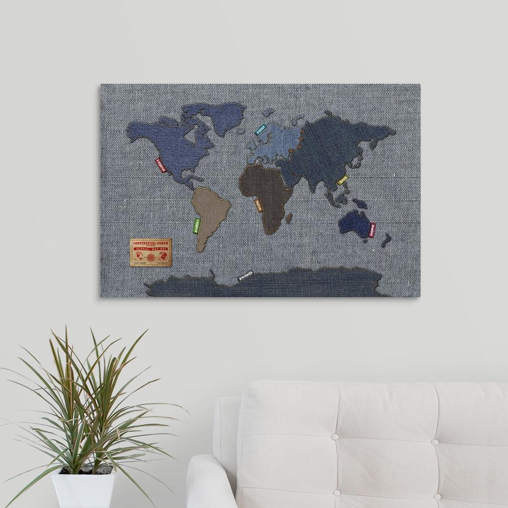 Greatbigcanvas world map in the style of denim fabric by michael greatbigcanvas world map in the style of denim fabric by michael tompsett canvas wall gumiabroncs Images