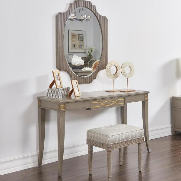 Dauphin Grey Cashmere Gold Accent Console Vanity Table