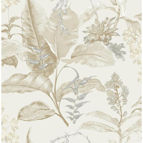 Maui Beige Botanical Paper Strippable Roll (Covers 56.4 sq. ft.)