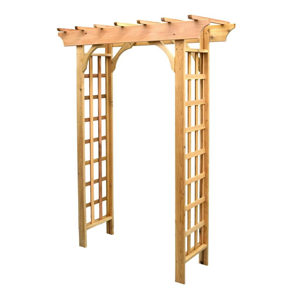 82 in. x 64 in. Cedar Roseleaf Arbor-8201147 - The Home Depot