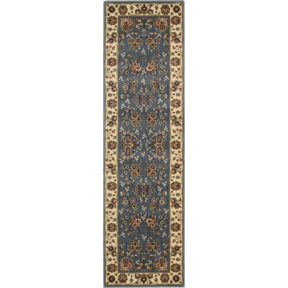 Nourison Persian Arts Light Blue 2 Ft X 12 Ft Runner Rug
