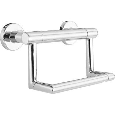 Decor Assist Contemporary Toilet Paper Holder with Assist Bar in Chrome