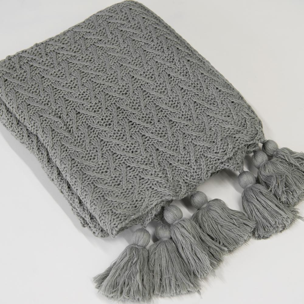 Grey Knitted Tassel Throw