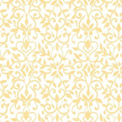 Creative Covering 18 in. x 20 ft. Antique Floral Yellow Self-Adhesive Vinyl Drawer and Shelf Liner (6 Rolls)